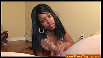Pierced ebony black slut strokes dick