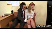 Cutie is delighting teacher with her skillful face hole