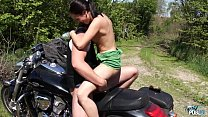 Wild outdoor fuck on motrbike with horny brunette Preview