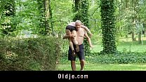 Nagging little bitch gets old cock punishment in the woods preview image