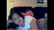 chubby asian teen gives a webcam show with her boyfriend