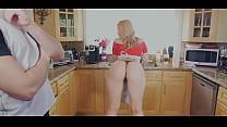 Hot blonde in the kitchen