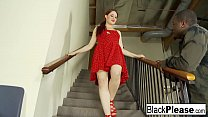 Free download video bokep Redhead hottie Jessica has interracial fun on the stairs