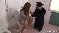 Freaky Asian police officer getting face sat by a babe