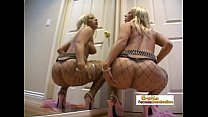 Beautiful blonde in fishnets double penetrated and covered in cum