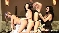 Wild t-girls in ass fucking orgy with four messy cumshots