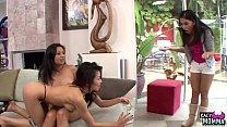 Mature asian stepmom licks teen in taboo trio