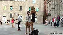 Busty babe fucked and zappered in public