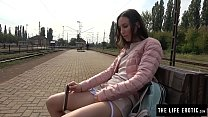 Tall skinny girl almost caught masturbating in public at a train station