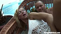 Blonde Mature Melissa Q Sucking And Fucking Young Cock Image