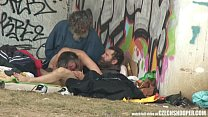 Pure Street Life Homeless Threesome Having Sex on Public video
