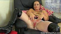 British milf Summer Angel Lee gets freaky in fishnets thumbnail