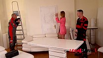 Cheating luxury wife Ani Black Fox gets Double Anal Penetration from 2 movers GP021's Thumb