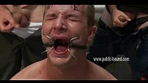 Gay twink fucked deep in his mouth in full nasty deepthroat sex getting tortured