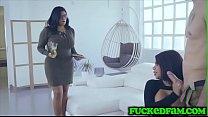 Curvy Latina Babes Devour Big Cock's Thumb