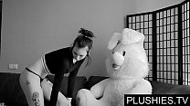 Black Goth girls agrees to suck and fuck with teddy bear at casting, jizz in mouth preview image
