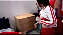 Gorgeous brunette and beautiful redhead cheerleaders horny in parodys-cd1-1