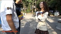 HD cute pancake face asian japanese horney slut gets anal from two white guys preview image