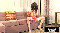 Asian trap wanks in schoolgirl outfit