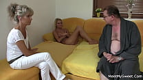 He finds blonde girlfriend rides old dad's dick