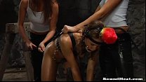 Lesbian mistresses training and whipping their ...
