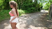 Petite busty Russian teen bangs her drive