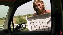 Street predators series. Hitchhiker girl in tro...
