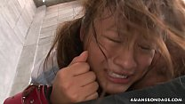 Collared and bound Asian receives a fierce dogg...