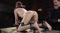 Slave in doggy device bondage anal toyed