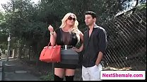Chubby shemale Holly Sweet getting sucked