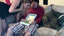 Horny MILF eats a sausage salad Thumbnail