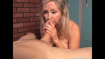 Beautiful blonde old spunker sucks cock and eats cum