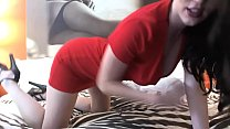 Sexy Girl in Red Dress Fingers Her Hot Pussy Ha...