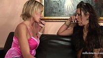 Busty Blonde And Brunette Fuck With A Toy In The Living Room | Mfhotmom.com