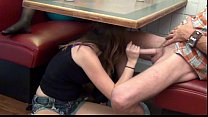 Daughter gives Footjob and BJ to Dad Under the Table thumbnail