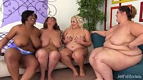 Four Fat Girls Pleasure Each Other and One Luck...