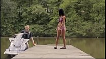 Freshwater:  Sexy Islander Bikini Girl On Dock