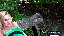 Natural Serbian blonde fucks outdoor in the park