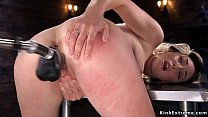 Blonde rides machine and Sybian