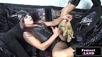 Solo femboy in latex jerking her hard dick