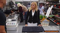 Blonde MILF tries to enjoy Pawnshop owners cock...