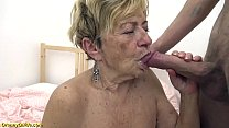 sexy hairy 90 years old granny banged by her to...