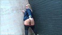 Exhibitionist milf Ashley Riders flashing outdoors and public pussy voyeur babe preview image