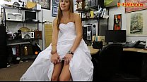 Babe in wedding dress fucked by pawn guy
