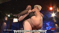 Dirty Bukkake Blondie Gets Shared Between A Gro