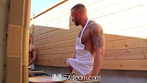 HD GayRoom - Muscle guy fucks friend after BBQ