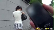 Asian pisses for voyeur in public