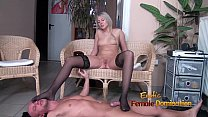 Stockinged footjob from a pantyless blonde video