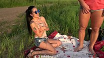 Babe catching sun convinced by ugly dude to fuc...