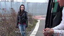 Squirting brunette found on the street with naked ass fuck stranger in van
